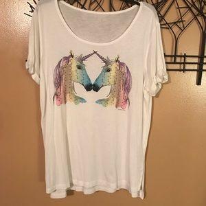 NY&CO rainbow unicorn tee size XL NWOT